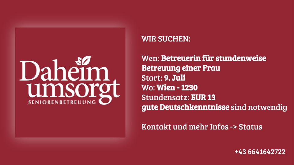 Jobangebot Stundenweise Betreuung in Wien
