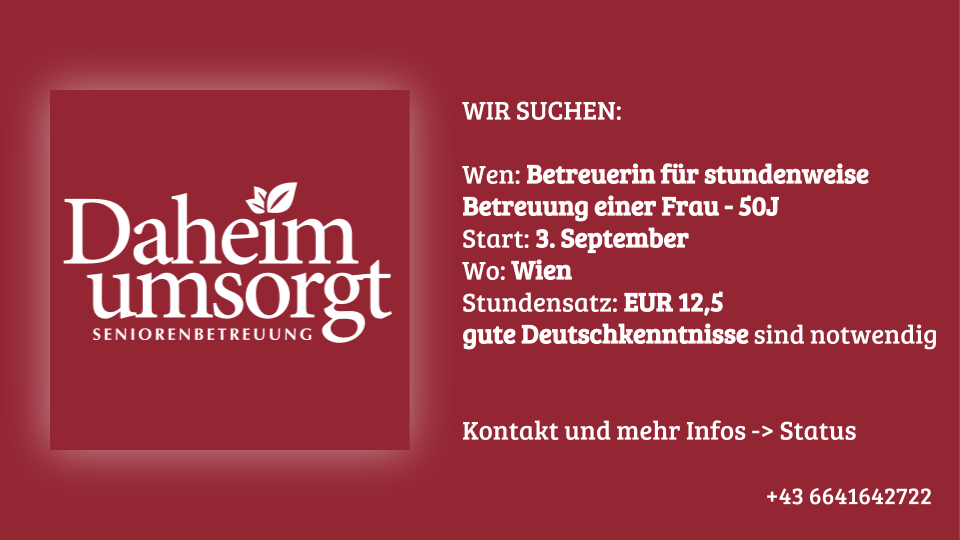 Jobangebot Stundenweise Betreuung in Wien – 50J Frau